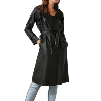 Spring and Fall Europe women causal balck PU leather trench coat women fashion wrap coat with belt ladies waterproof coat