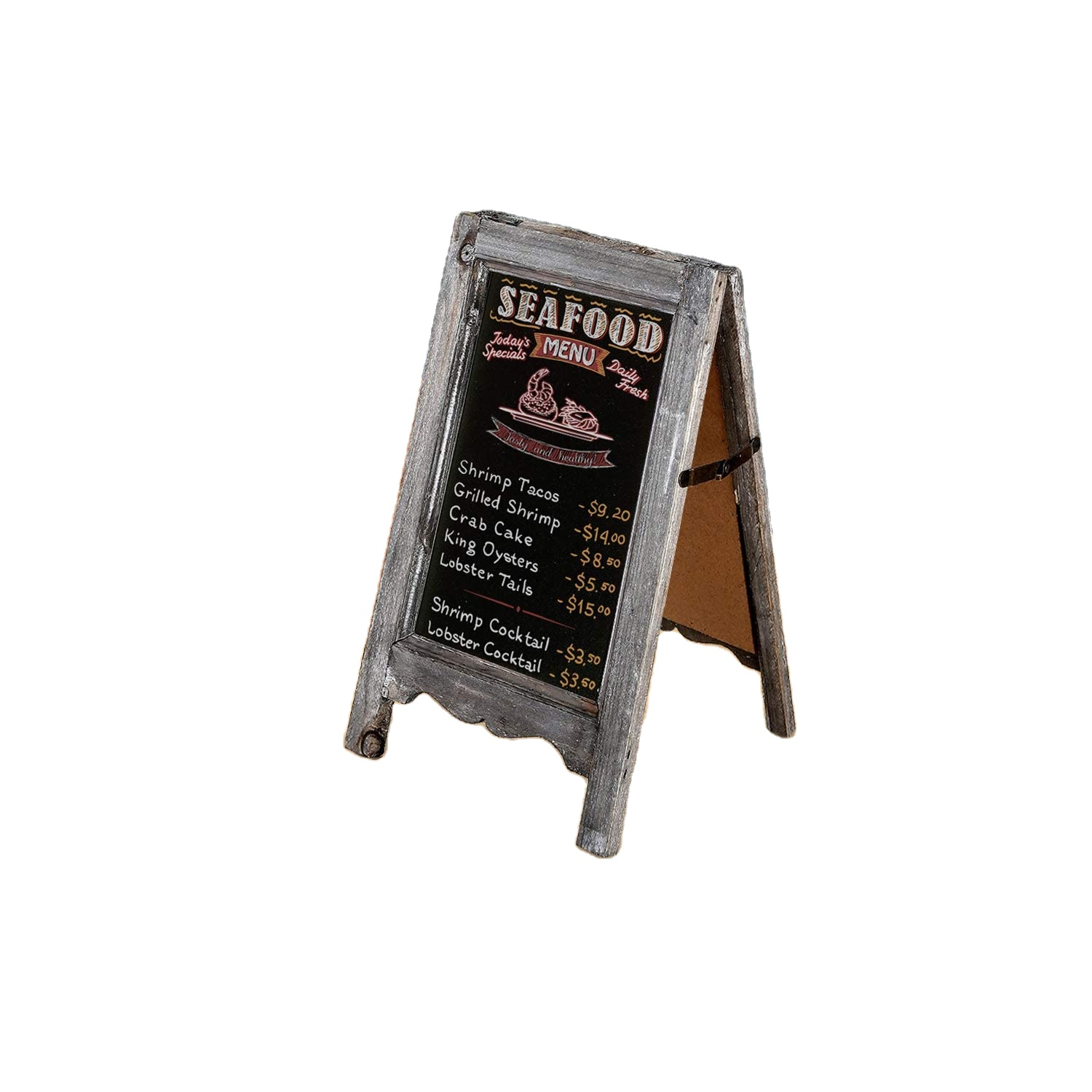 Small Wood A-Frame Double-Sided Chalkboard Sign, Brown Table Top Rustic Message Board - Yola WhiteBoard | szyola.net
