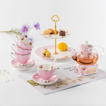 poecelain customied tea set popular coffe and saucer for 4 people
