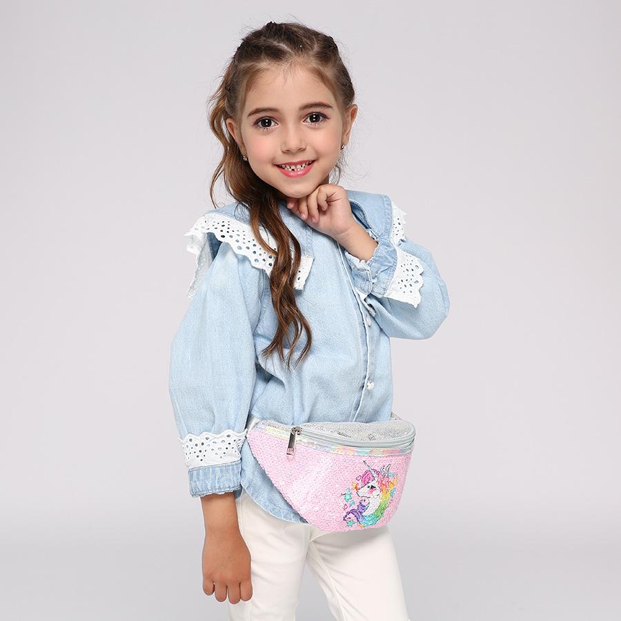 Child Little Girl Casual Cute Unicorn Print Sequins Cartoons Waist Bag Shoulder pink bags for girls