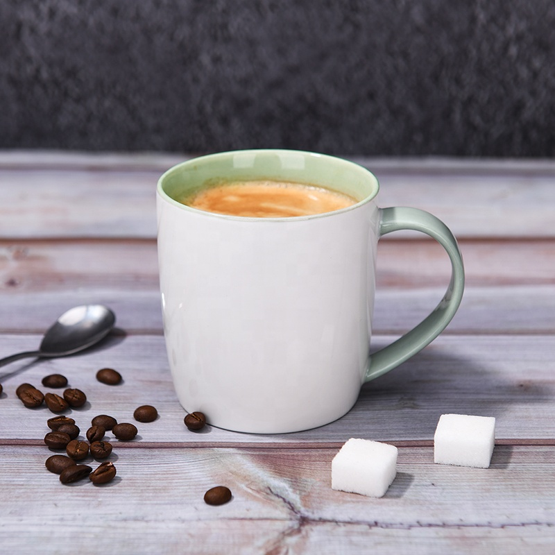 Ceramic custom double wall coffee mug colored handle green tea mugs