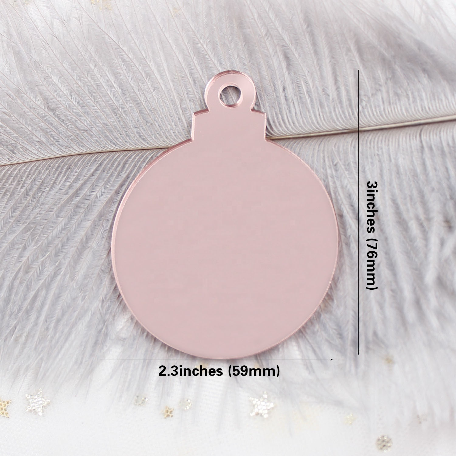 AC1106-76mm (3inches) Height Clear Blank Acrylic Rose Gold Mirror Christmas Tree Bauble Tags Hanging Bauble