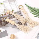 Tassel Ring Wholesale Bohemia Tassel Handmade Cotton Wood Beads Macrame Key Ring