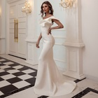 Gown Evening Evening Dresses Party Women Fashion Satin Bodycon Elegant Party Gown Fishtail Prom Dresses 1 Shoulder Slim Slant Evening Dress For Women