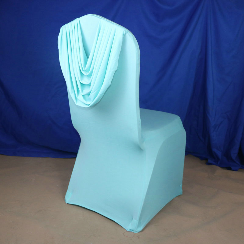 factory direct sale back ruffled universal wedding decoration spandex chair covers