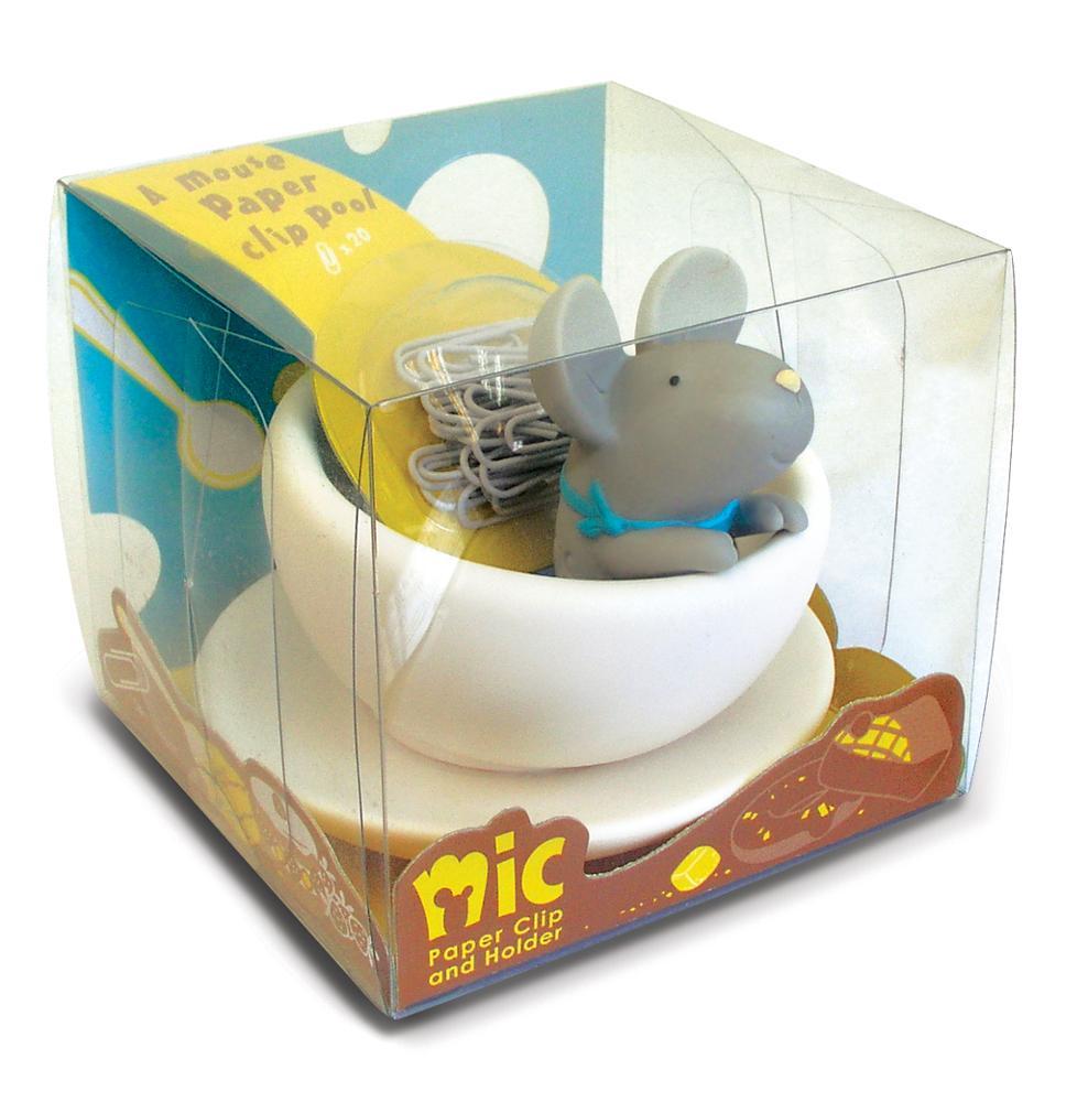 Новинка Симпатичный виниловый прозрачный пластиковый зажим для бумаги и держатель в форме мыши