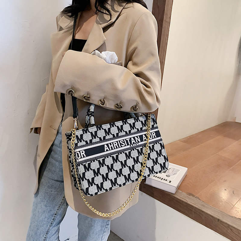 Tote Bags Two Size Casual Signature Printing Pu Leather Tote Shoulder Handbag for Women