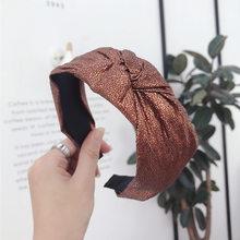 Тканевые золотистые повязки для волос с узлом для женщин, пестрые повязки на голову, аксессуары для волос, повязка на голову с цветком и коро...(Китай)