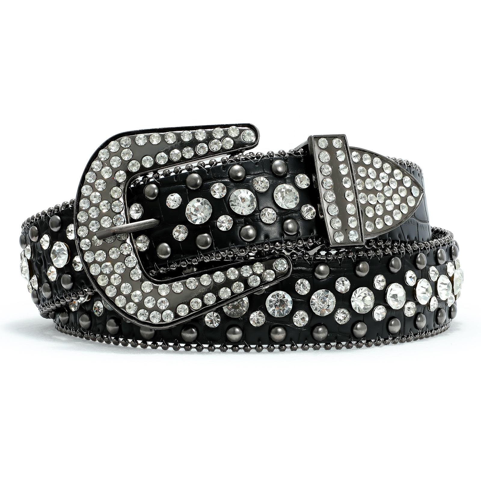 Luxury Crystal Belt Women Leather Men Unisex Diamond Studded Rhinestone Western Belt Stylish Designer Fancy Belt