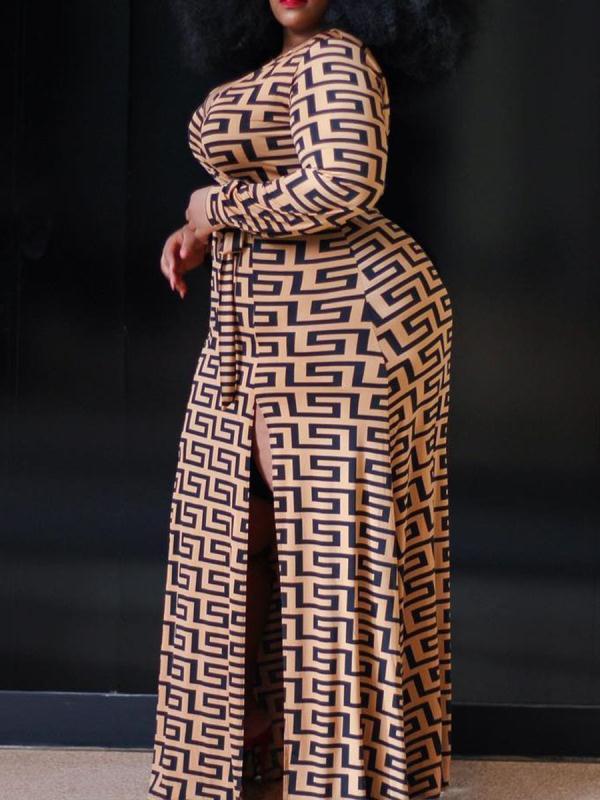 Dropshipping Hot Selling Plus Size Women Long Sleeves Dress V Neck Maze Print Long Women Casual Dress Party Dress