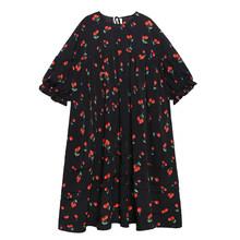 Женское платье с принтом EAM, платье большого размера из шифона с круглым вырезом и рукавом три четверти, весенне-Осенняя мода 2020 1T46(Китай)