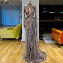Высокая мода, блестящее платье знаменитостей 2020, длинное вечернее платье русалки из Дубаи, просвечивающее платье для выпускного вечера, сбе...(China)