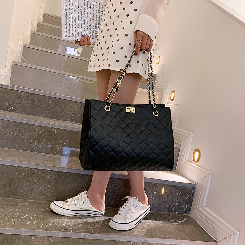 Wholesale Latest Brand Female Casual Tote Bag Women Handbags Diamond Pattern Chains Bag Pu Leather Girls Crossbody Bag