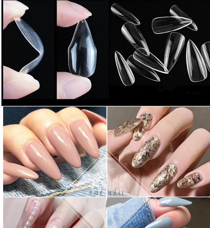 500 шт. сумка накладные ногти для ног, на каблуке-шпильке изогнутые прозрачные французский ногтей салон накладные ногти