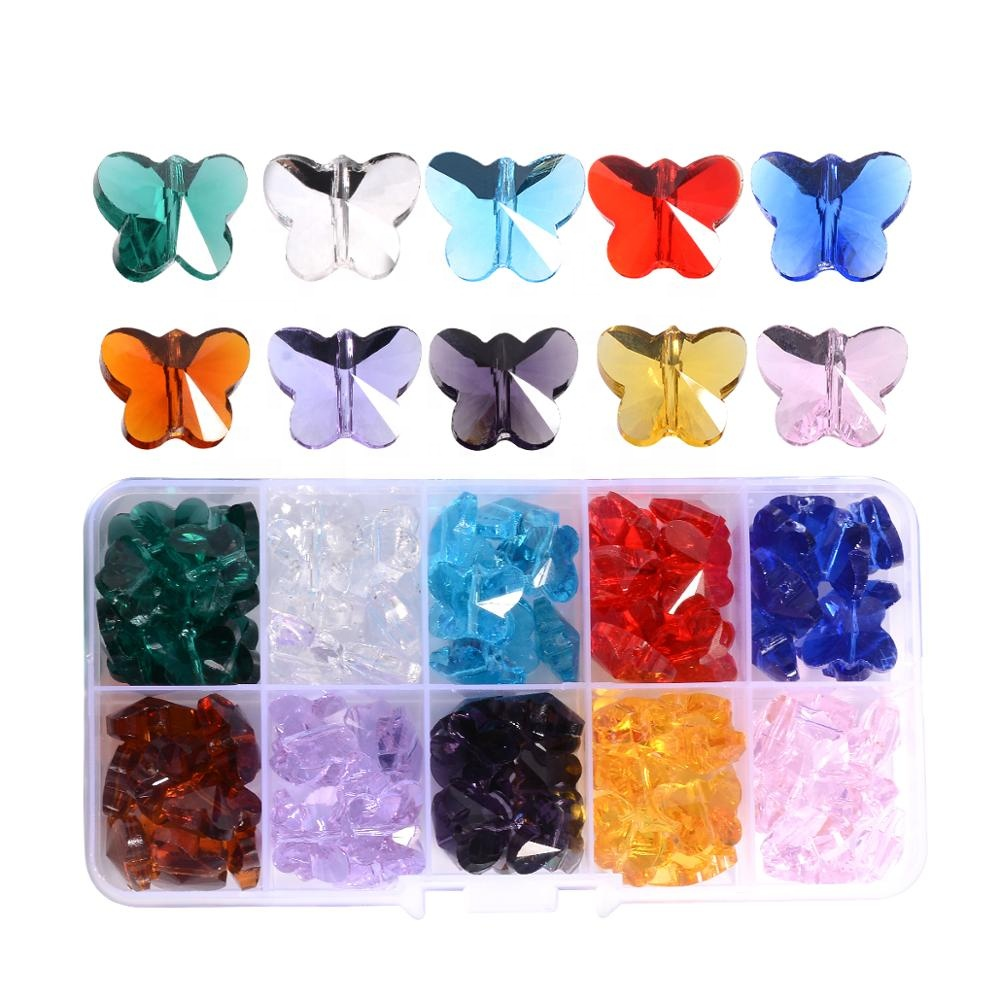 Large Pendants Lampwork Bulk 3 pcs Crystal Glass Pendants Large Hole, Butterflies /& Hearts