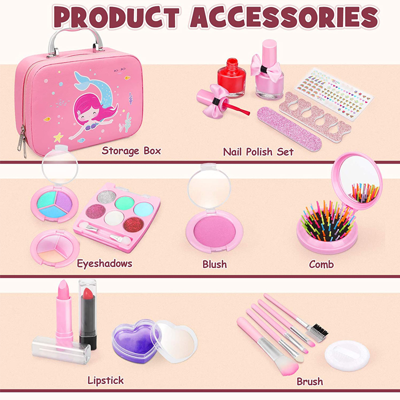 New Product Makeup for Girls Kids Make up Kit Girl Real Pretend Play Makeup Toys for Toddler Washable Makeup Set for Girl Play