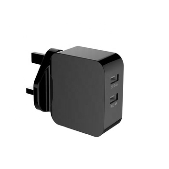 24W UK Plug Dual Port USB Fast wall Charger for Mobile Phone Table