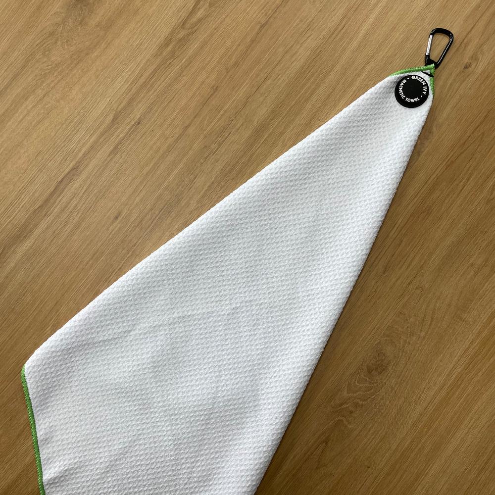 Китайские производители, оптовая продажа, полотенце для гольфа из микрофибры с напечатанным логотипом на застежке