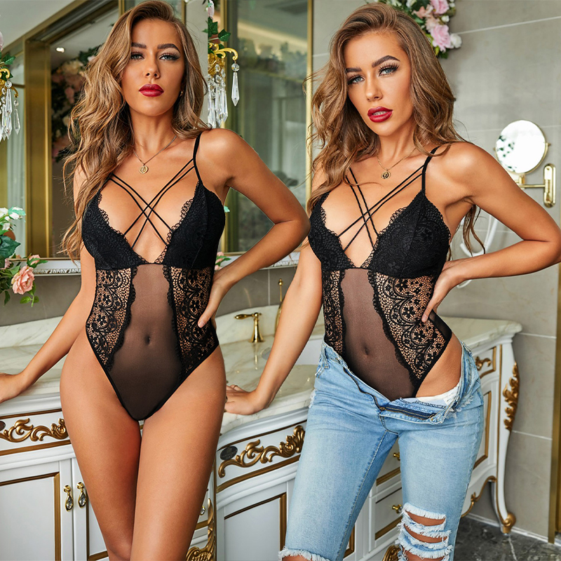Women's Lingerie Teddy Deep V Lace Leopard Print Cross Cutout Back Sheer Valentine Bodysuit