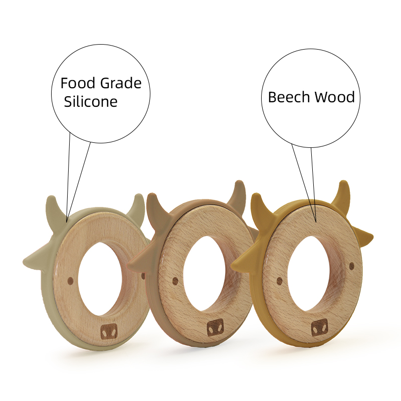 Высококачественное нетоксичное органическое кольцо для прорезывания зубов для новорожденных, безопасные игрушки для жевания младенцев, может защитить рост зубов