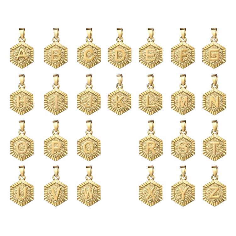 Новинка; Лидер продаж; Модные Позолоченные 18 каратные ювелирные украшения, 316L Нержавеющая Сталь Шестигранные Начальная буква ожерелье