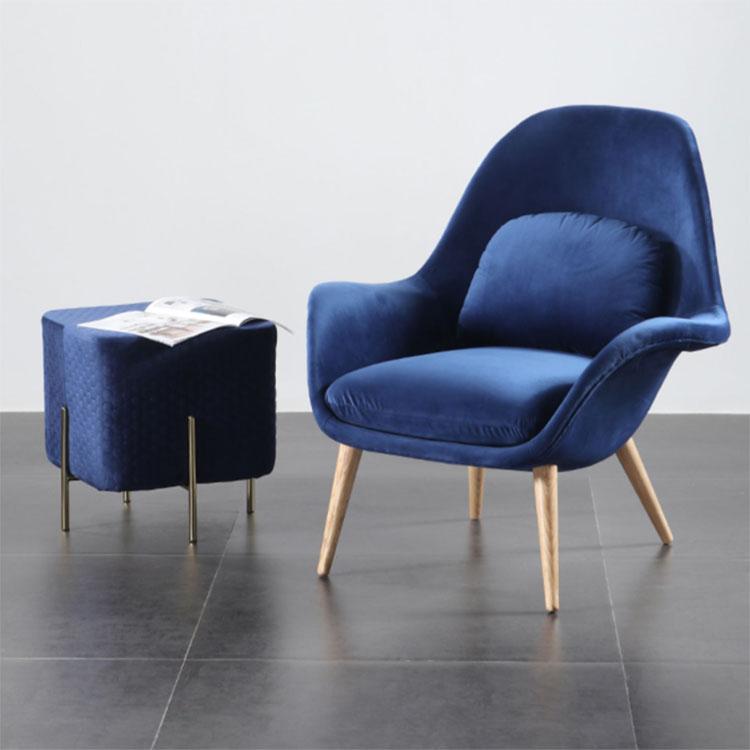Single lazybody sofa Nordic small family sitting room leisure sofa chair creative light luxury girl room flannelette lounge chai