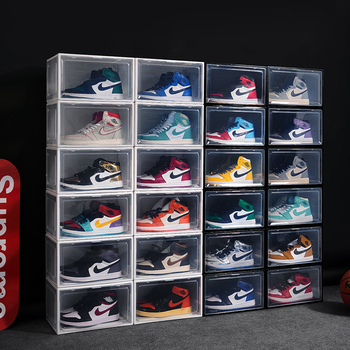 Clear Custom Wholesale Assemble Plastic Super Strong Side Open Door Display Shoe Storage Box Stackable Sneaker Container Box