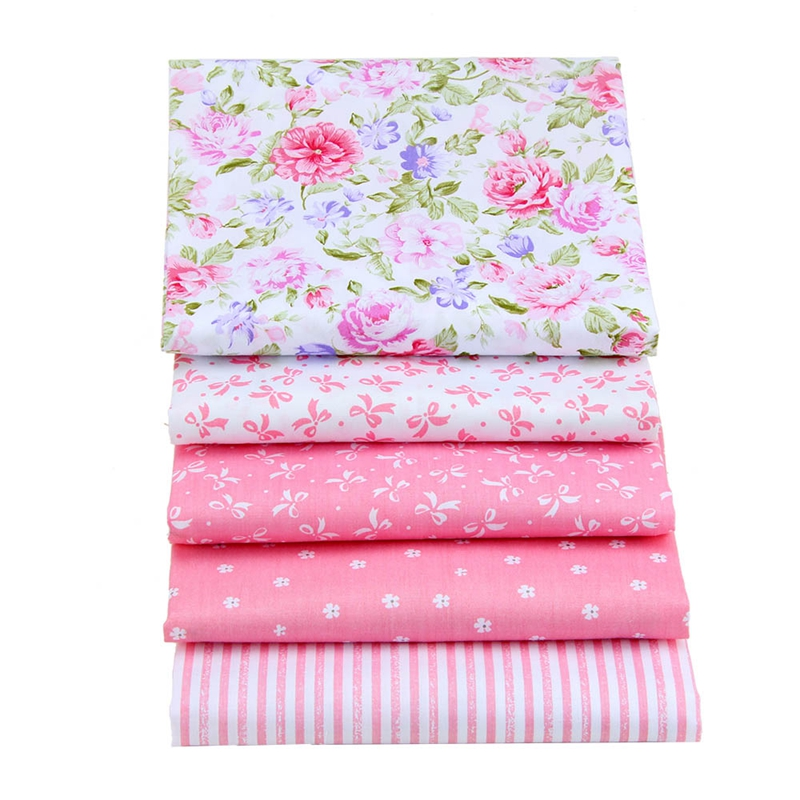 High quality 5 different pink Telas cloth DIY floral cotton fabric patchwork