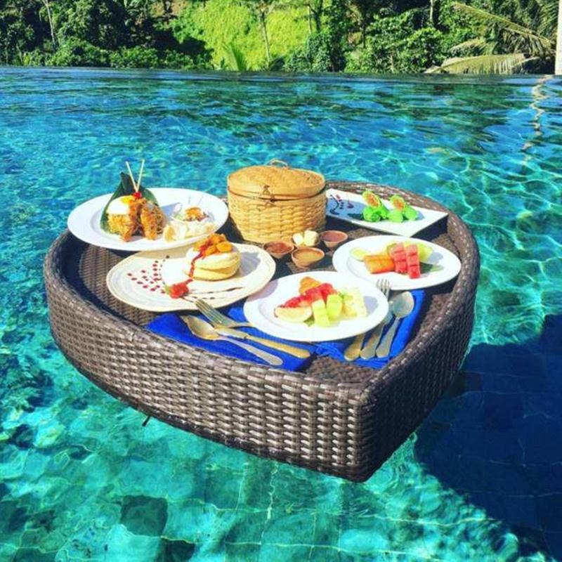 Уличная корзина для воды из ротанга для завтрака, плавающий бассейн, сервировочный поднос