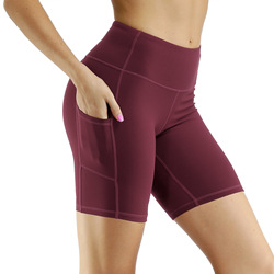 Hot sale high waist five ponit shorts with pocket Workout Yoga Fitness Womens Tight Running Compression Exercise Biker Shorts