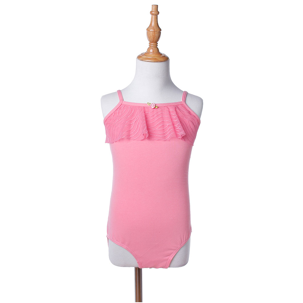 Toptan yeni çocuk Polyester pamuk Spandex Sling ritmik bale jimnastik mayoları