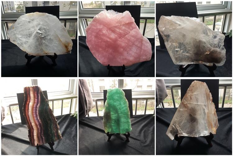Big pink rose crystal quartz slabs natural rock quartz crystal stone slab for decoration
