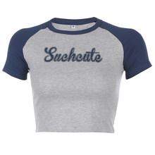 Женская футболка с коротким рукавом Sweetown, повседневная облегающая футболка контрастного цвета, уличная одежда, лето 2020(Китай)