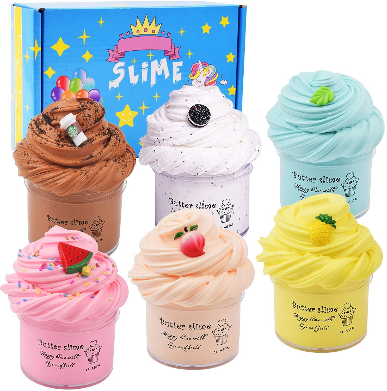 Лидер продаж Amazon 2021, набор слаймов playтесто, 6 упаковок, 100 мл, набор слаймов из хлопка, набор слаймов с единорогом для детей