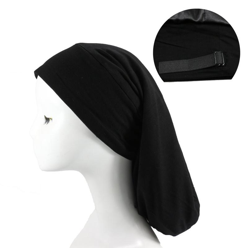HZM-18298 Satin Lined Sleep Slouchy Cap Long Adjustable Bonnets Beanie Sleep Hair Cover Bonnet Gifts for Frizzy Hair Women