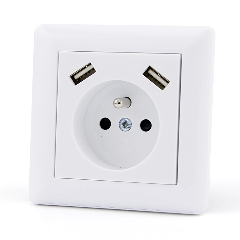 High quality AC power 2 pin 16amp female ac power outlet indoor outdoor wall usb plug socket