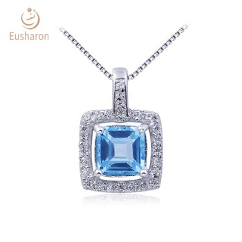 Party Gemstone Pendant S925 0.7ct Natural Swiss Blue Topaz Square Pendant Handmade Silver Jewelry