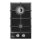 Black Midea 30CM Gas Hob With 2 Burners Black Tempered Glass