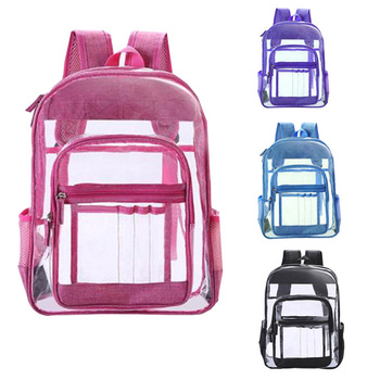 custom logo Kids Women Men student sport outdoor Backpacks School bag travel waterproof transparent clear pvc backpack for girls