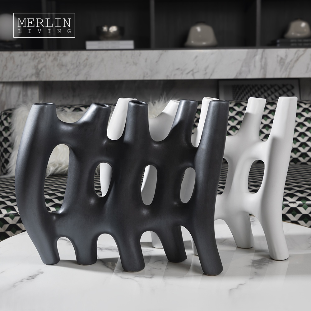 Metal Glazed Black Ceramic Ornaments Home Decoration Accessories With Holes Modern Unique Design Matte Tabletop Decor Pieces Buy