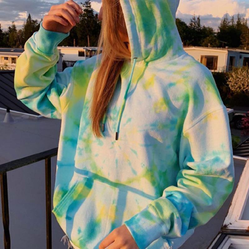 High Quality Tie Dye Hoody Pullover Track Top Custom Logo plain Hoodie Unisex Heated Hoodies women