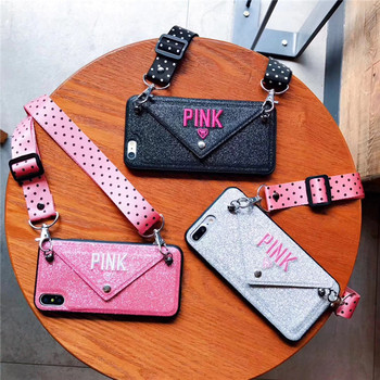 2020 New Luxury PINK Glitter Embroidery Leather Case For iPhone 7 7Plus Bling Phone Wallet Case For iPhone 11 XS Max XR X 8 6 6s