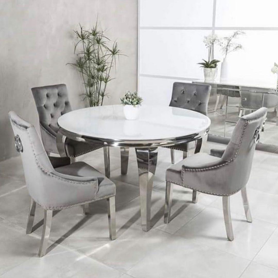 Luxury Dining Room Furniture Round MDF Wooden Stainless Steel Dining Table Chair Set