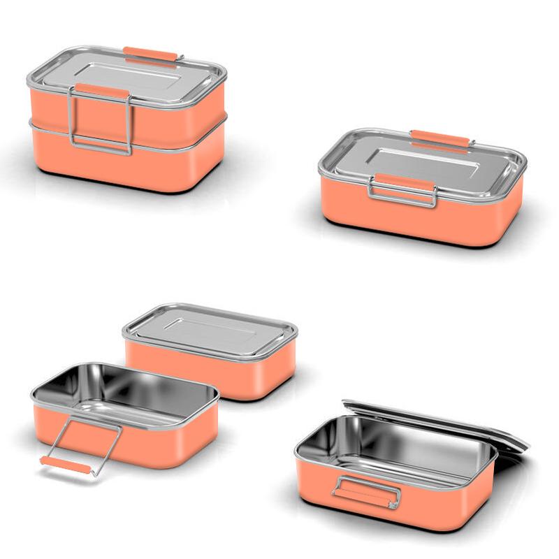 Ланч-бокс из нержавеющей стали 304 с одной стенкой, контейнер для еды bento, пищевые контейнеры оптом