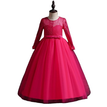 Children formal temperament long style 11 year old dresses for girls graceful child wedding frock for girls cotton anti-wrinkle