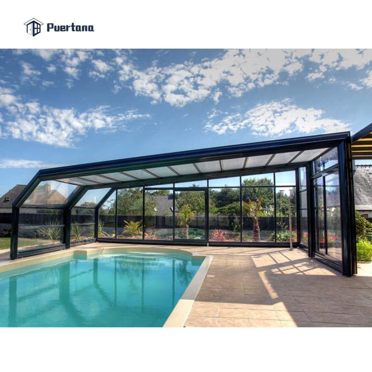 Сборный корпус для бассейна из закаленного стекла Солнцезащитные очки алюминиевая рама из поликарбоната Выдвижная солнечная крыша