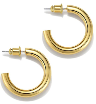 18k 14k big open chunky gold thick plated hoop earrings for women