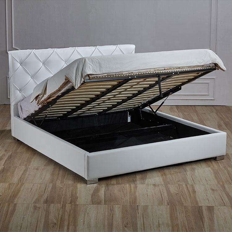 Hot selling elegant modern white button storage imitation leather bed furniture set