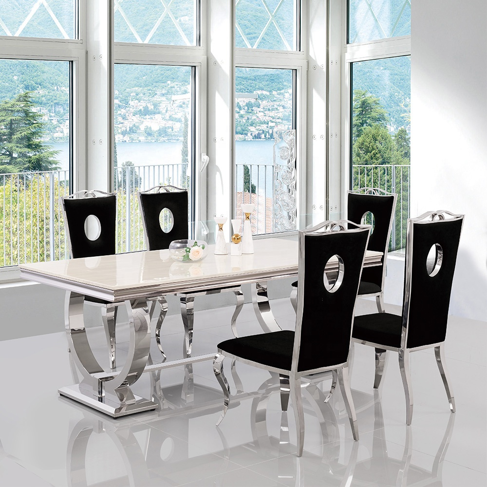 luxury marble dining table eurpean style furniture dining room table set stainless steel base dining table and chair