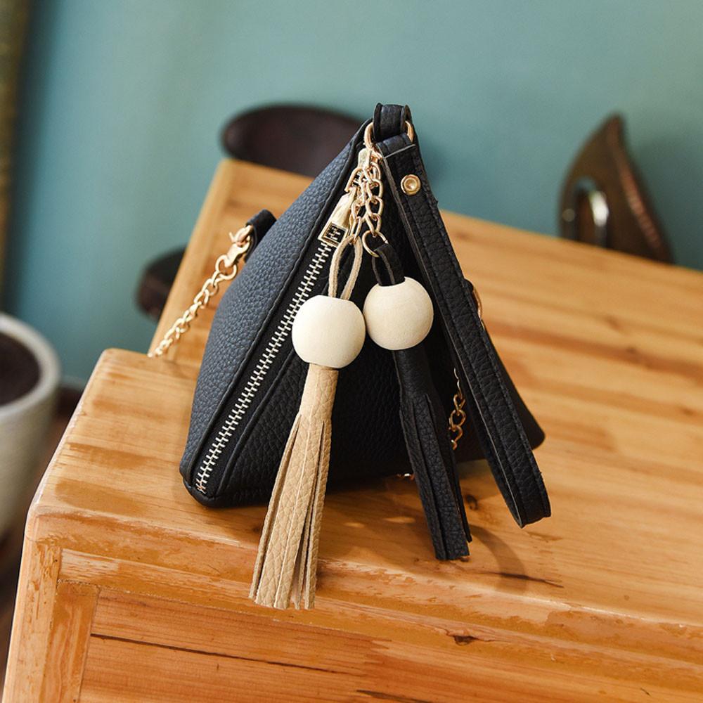 Женская модная треугольная мини-сумка на плечо, женские сумки с кисточками, женские сумки на плечо, сумка-тоут, дамская сумочка для монет, bolso...(Китай)